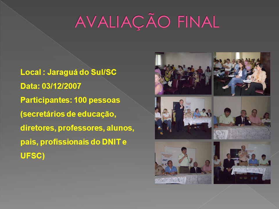 Local : Jaraguá do Sul/SC Data: 03/12/2007 Participantes: 100 pessoas (secretários de educação, diretores, professores, alunos, pais, profissionais do