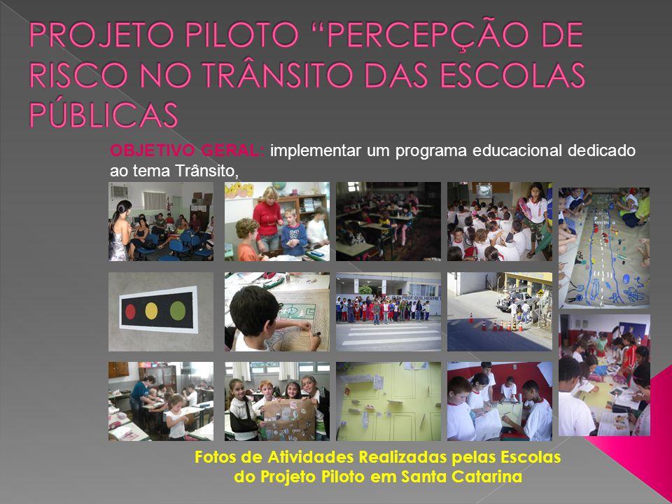 OBJETIVO GERAL: implementar um programa educacional dedicado ao tema Trânsito, Fotos de Atividades Realizadas pelas Escolas do Projeto Piloto em Santa