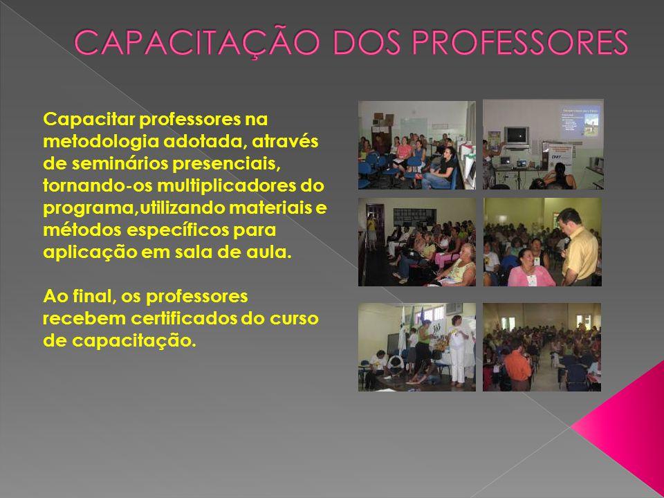 Capacitar professores na metodologia adotada, através de seminários presenciais, tornando-os multiplicadores do programa,utilizando materiais e método