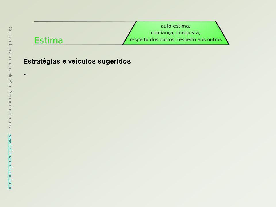 Conteúdo elaborado pelo Prof. Alexandre Barbosa – www.latinoamericano.jor.br www.latinoamericano.jor.br Estratégias e veículos sugeridos -