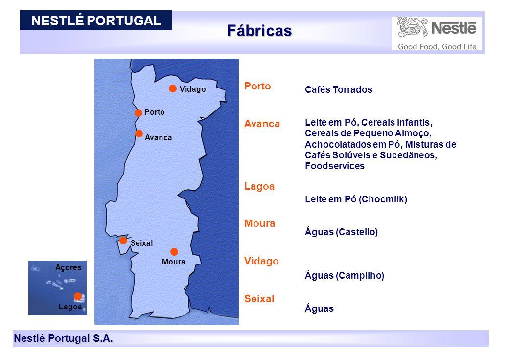 Nestlé Portugal S.A. Açores Fábricas Porto Avanca Porto Avanca Lagoa Moura Vidago Seixal Cafés Torrados Leite em Pó, Cereais Infantis, Cereais de Pequ