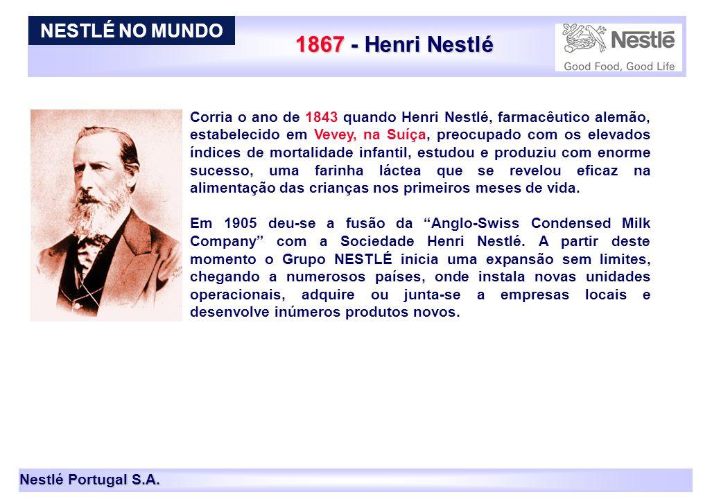 Nestlé Portugal S.A. 1867 - Henri Nestlé Corria o ano de 1843 quando Henri Nestlé, farmacêutico alemão, estabelecido em Vevey, na Suíça, preocupado co