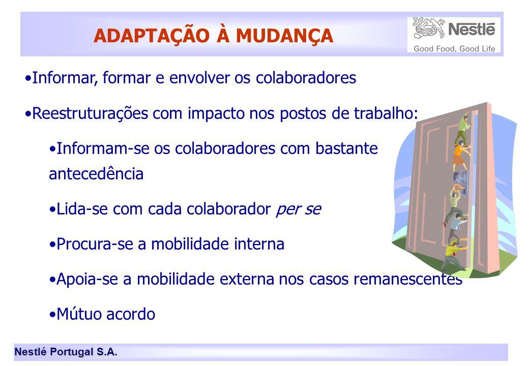 Nestlé Portugal S.A. ADAPTAÇÃO À MUDANÇA •Informar, formar e envolver os colaboradores •Reestruturações com impacto nos postos de trabalho: •Informam-