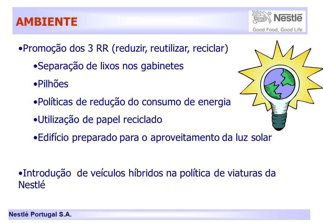 Nestlé Portugal S.A. AMBIENTE •Promoção dos 3 RR (reduzir, reutilizar, reciclar) •Separação de lixos nos gabinetes •Pilhões •Políticas de redução do c