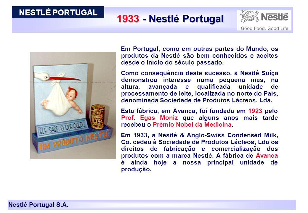 Nestlé Portugal S.A. 1933 - Nestlé Portugal Em Portugal, como em outras partes do Mundo, os produtos da Nestlé são bem conhecidos e aceites desde o in