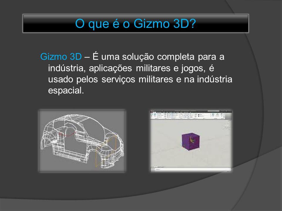 O que é o Gizmo 3D? Gizmo 3D – É uma solução completa para a indústria, aplicações militares e jogos, é usado pelos serviços militares e na indústria
