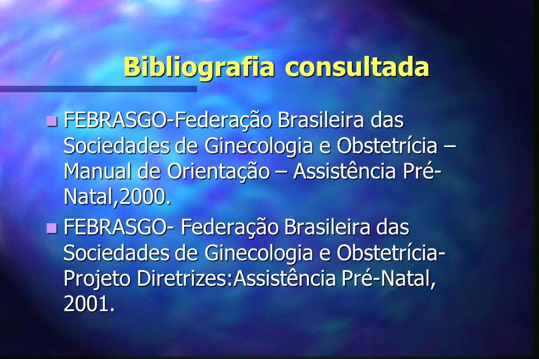 Bibliografia consultada  FEBRASGO-Federação Brasileira das Sociedades de Ginecologia e Obstetrícia – Manual de Orientação – Assistência Pré- Natal,20