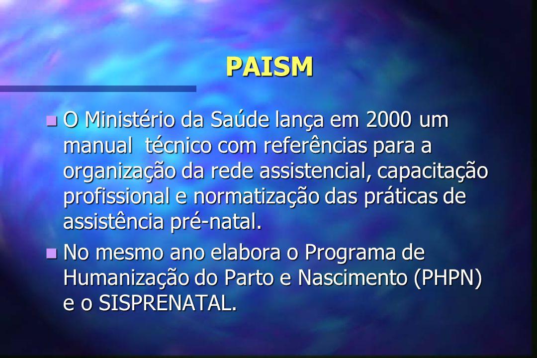PAISM PAISM  O Ministério da Saúde lança em 2000 um manual técnico com referências para a organização da rede assistencial, capacitação profissional e normatização das práticas de assistência pré-natal.