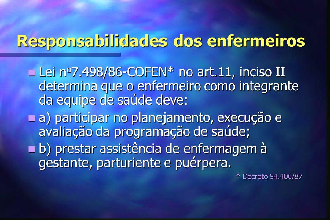Responsabilidades dos enfermeiros  Resolução COFEN-223/99 dispõe sobre a atuação de enfermeiros na assistência à mulher no ciclo gravídico puerperal.