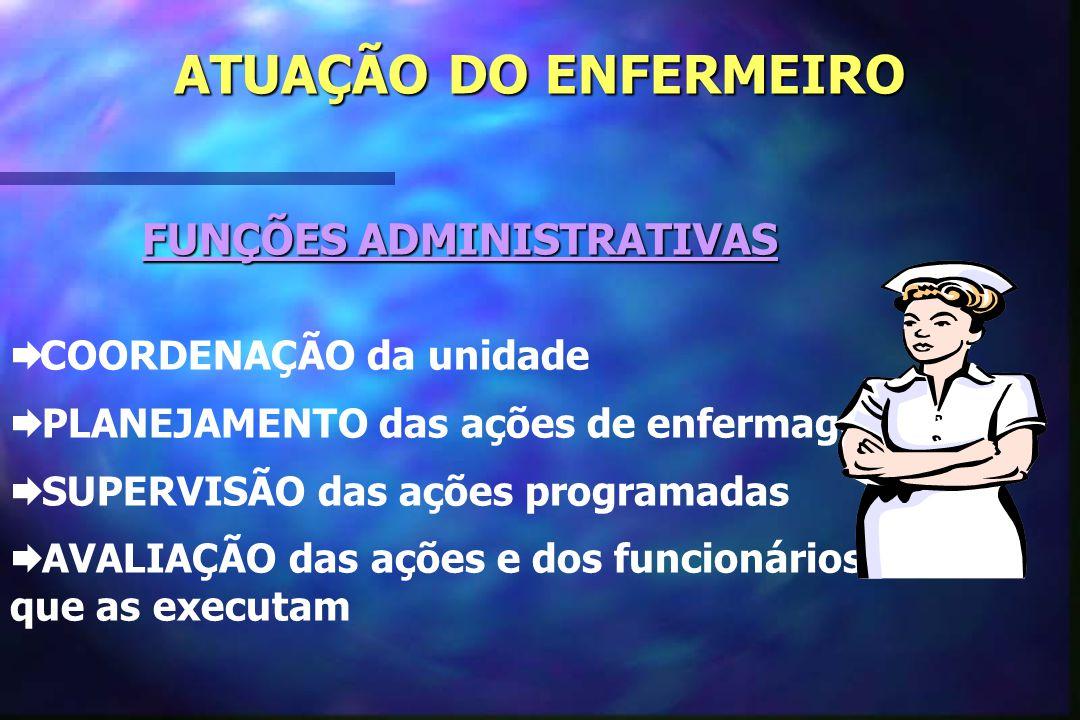 ATUAÇÃO DO ENFERMEIRO FUNÇÕES ADMINISTRATIVAS  COORDENAÇÃO da unidade  PLANEJAMENTO das ações de enfermagem  SUPERVISÃO das ações programadas  AVA