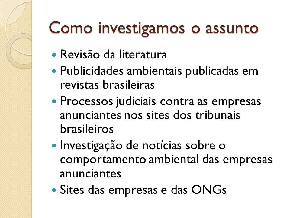 Como investigamos o assunto  Revisão da literatura  Publicidades ambientais publicadas em revistas brasileiras  Processos judiciais contra as empresas anunciantes nos sites dos tribunais brasileiros  Investigação de notícias sobre o comportamento ambiental das empresas anunciantes  Sites das empresas e das ONGs