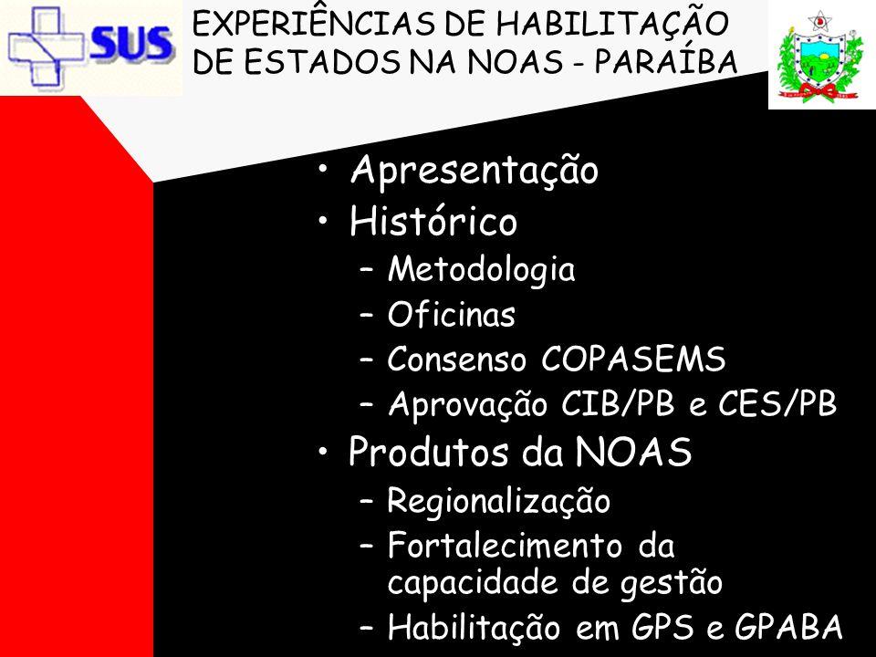 EXPERIÊNCIAS DE HABILITAÇÃO DE ESTADOS NA NOAS - PARAÍBA •Apresentação •Histórico –Metodologia –Oficinas –Consenso COPASEMS –Aprovação CIB/PB e CES/PB