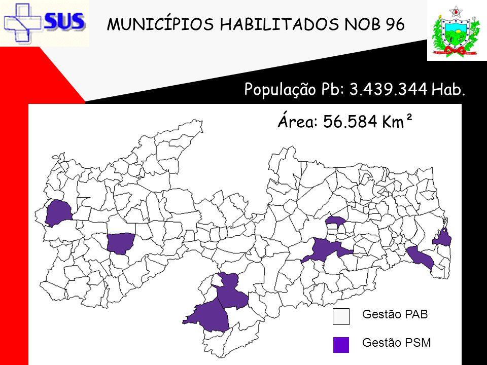 MUNICÍPIOS HABILITADOS NOB 96 Gestão PAB Gestão PSM População Pb: 3.439.344 Hab. Área: 56.584 Km²