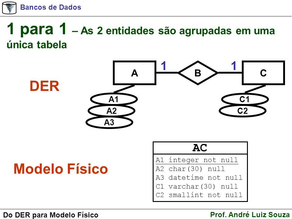 Bancos de Dados Prof. André Luiz Souza Do DER para Modelo Físico AC B A1 A2 A3 C1 C2 11 1 para 1 – As 2 entidades são agrupadas em uma única tabela DE
