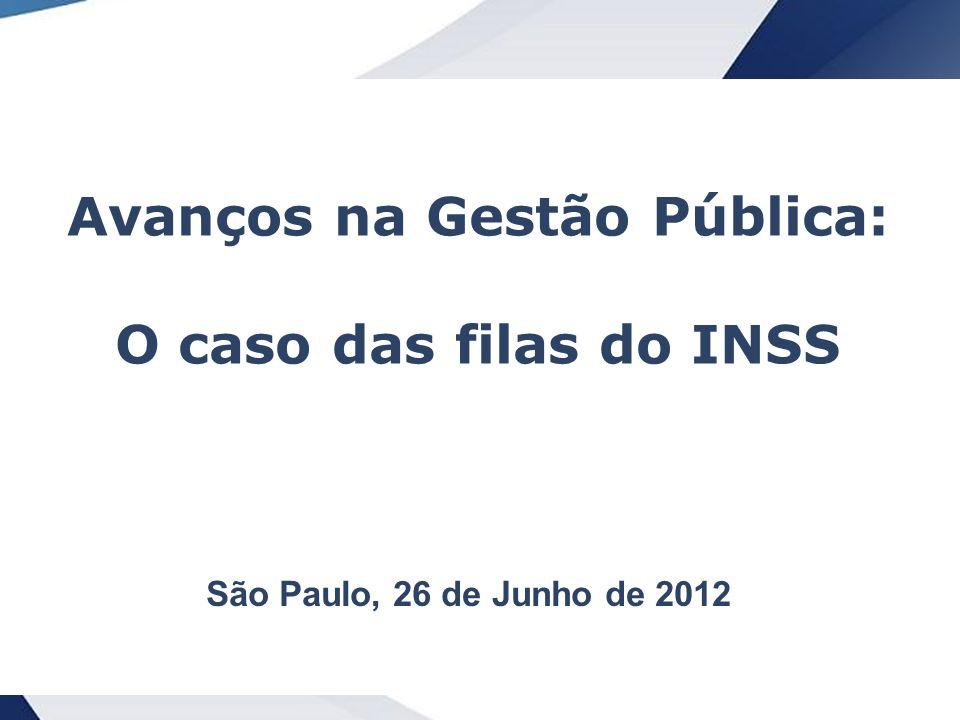 1 Avanços na Gestão Pública: O caso das filas do INSS São Paulo, 26 de Junho de 2012