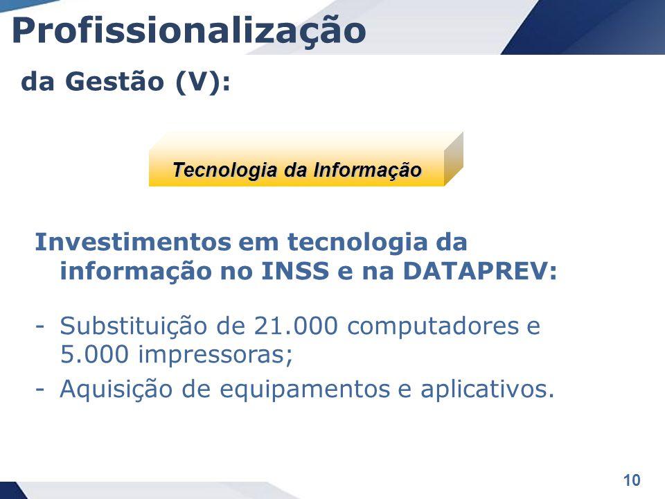 10 Investimentos em tecnologia da informação no INSS e na DATAPREV: -Substituição de 21.000 computadores e 5.000 impressoras; -Aquisição de equipamentos e aplicativos.