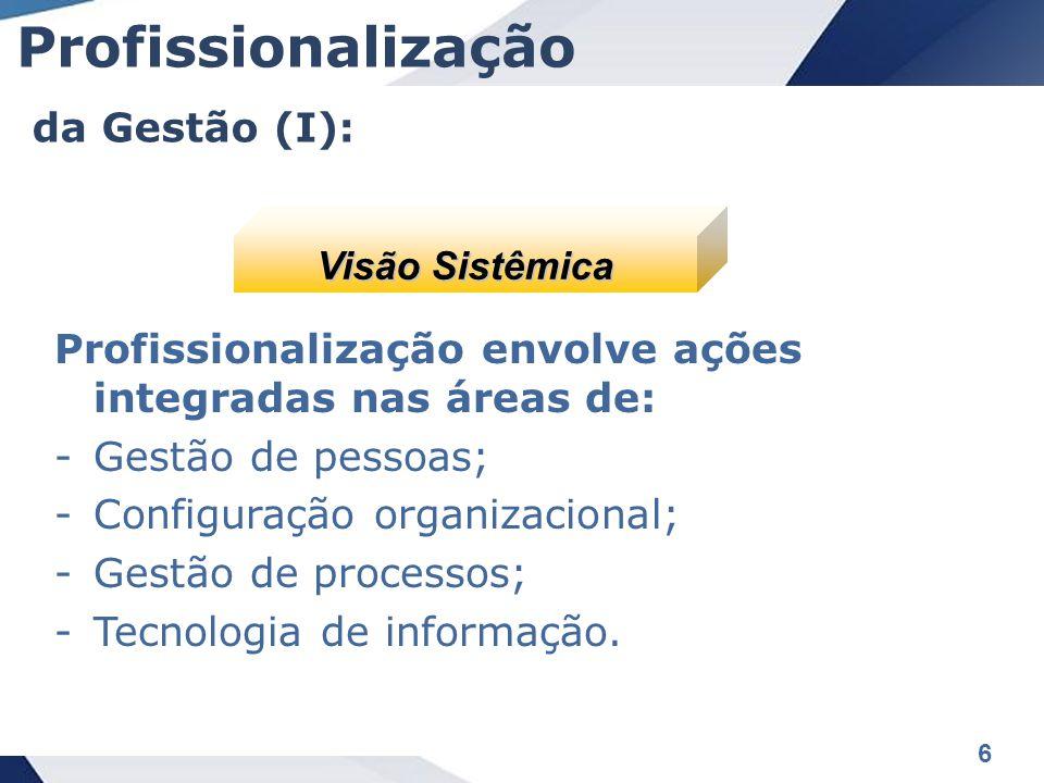 6 Profissionalização envolve ações integradas nas áreas de: -Gestão de pessoas; -Configuração organizacional; -Gestão de processos; -Tecnologia de informação.