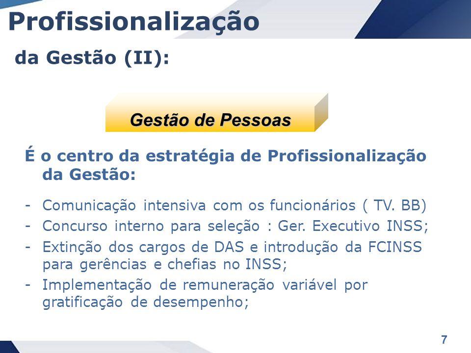 8 Reestruturação organizacional do INSS, com criação de gerências regionais: -Implementação da cadeia de comando; -Otimização de recursos orçamentários possibilitando ganhos de escala em compras.
