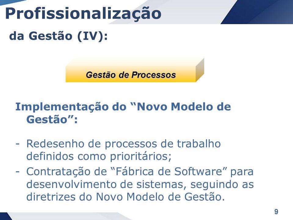 9 Implementação do Novo Modelo de Gestão : -Redesenho de processos de trabalho definidos como prioritários; -Contratação de Fábrica de Software para desenvolvimento de sistemas, seguindo as diretrizes do Novo Modelo de Gestão.