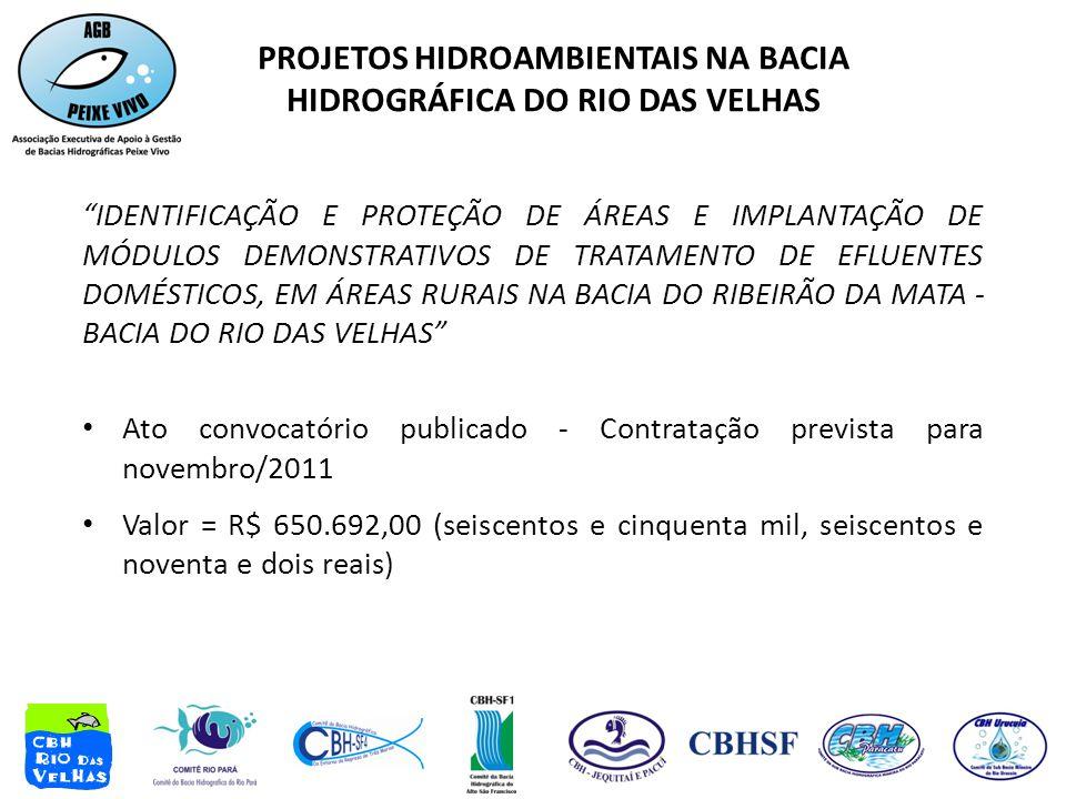 IDENTIFICAÇÃO E PROTEÇÃO DE ÁREAS E IMPLANTAÇÃO DE MÓDULOS DEMONSTRATIVOS DE TRATAMENTO DE EFLUENTES DOMÉSTICOS, EM ÁREAS RURAIS NA BACIA DO RIBEIRÃO DA MATA - BACIA DO RIO DAS VELHAS • Ato convocatório publicado - Contratação prevista para novembro/2011 • Valor = R$ 650.692,00 (seiscentos e cinquenta mil, seiscentos e noventa e dois reais) PROJETOS HIDROAMBIENTAIS NA BACIA HIDROGRÁFICA DO RIO DAS VELHAS