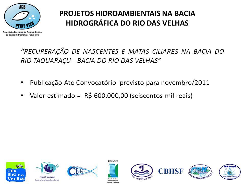 RECUPERAÇÃO DE NASCENTES E MATAS CILIARES NA BACIA DO RIO TAQUARAÇU - BACIA DO RIO DAS VELHAS • Publicação Ato Convocatório previsto para novembro/2011 • Valor estimado = R$ 600.000,00 (seiscentos mil reais) PROJETOS HIDROAMBIENTAIS NA BACIA HIDROGRÁFICA DO RIO DAS VELHAS