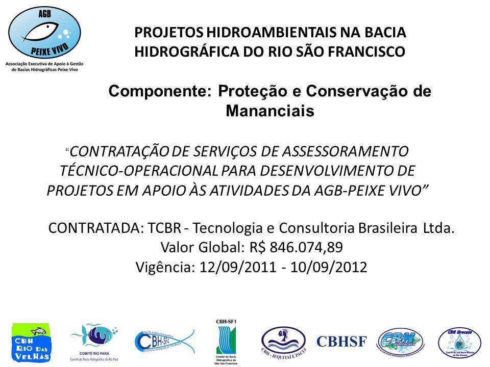 PROJETOS HIDROAMBIENTAIS NA BACIA HIDROGRÁFICA DO RIO SÃO FRANCISCO Componente: Proteção e Conservação de Mananciais CONTRATAÇÃO DE SERVIÇOS DE ASSESSORAMENTO TÉCNICO-OPERACIONAL PARA DESENVOLVIMENTO DE PROJETOS EM APOIO ÀS ATIVIDADES DA AGB-PEIXE VIVO CONTRATADA: TCBR - Tecnologia e Consultoria Brasileira Ltda.