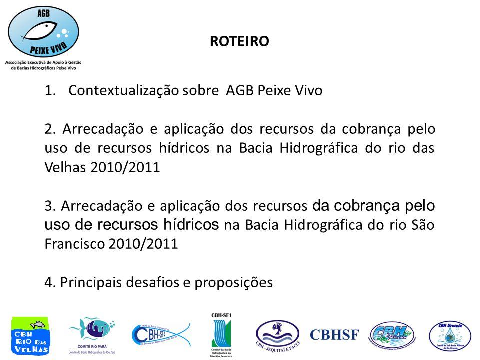 ROTEIRO 1.Contextualização sobre AGB Peixe Vivo 2. Arrecadação e aplicação dos recursos da cobrança pelo uso de recursos hídricos na Bacia Hidrográfic