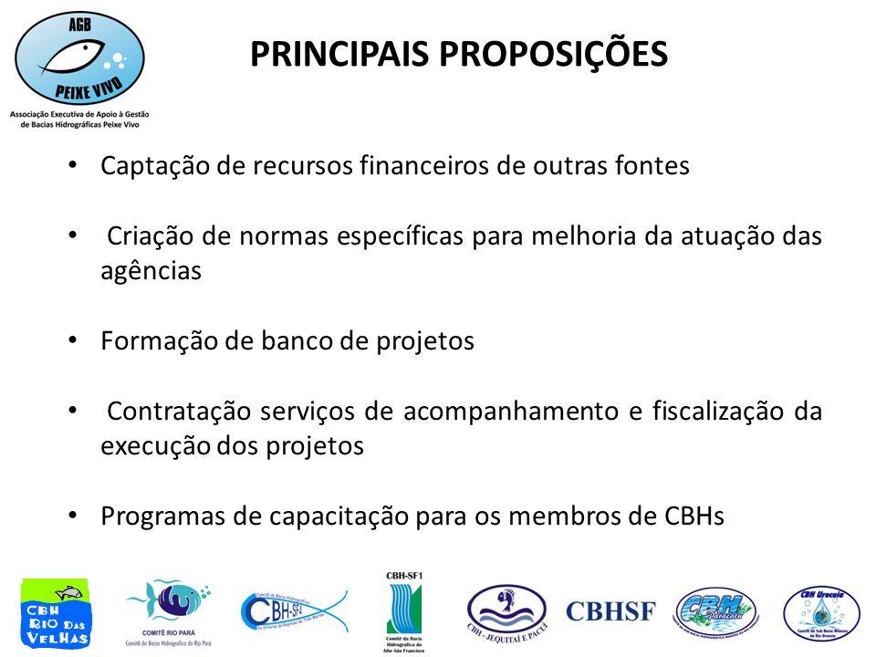 PRINCIPAIS PROPOSIÇÕES • Captação de recursos financeiros de outras fontes • Criação de normas específicas para melhoria da atuação das agências • For