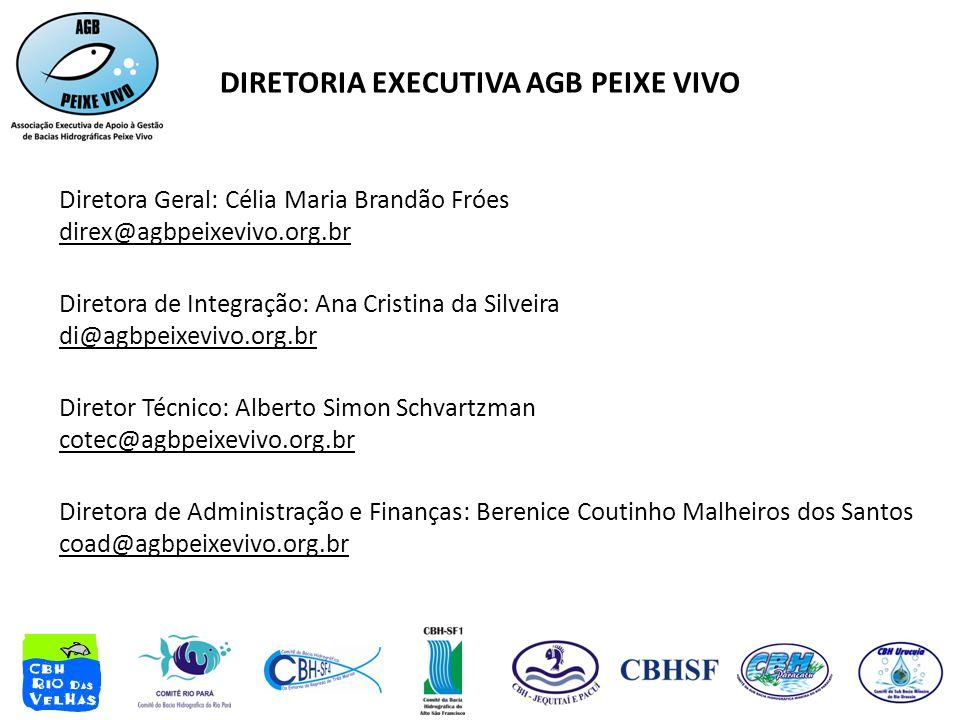 DIRETORIA EXECUTIVA AGB PEIXE VIVO Diretora Geral: Célia Maria Brandão Fróes direx@agbpeixevivo.org.br Diretora de Integração: Ana Cristina da Silveir