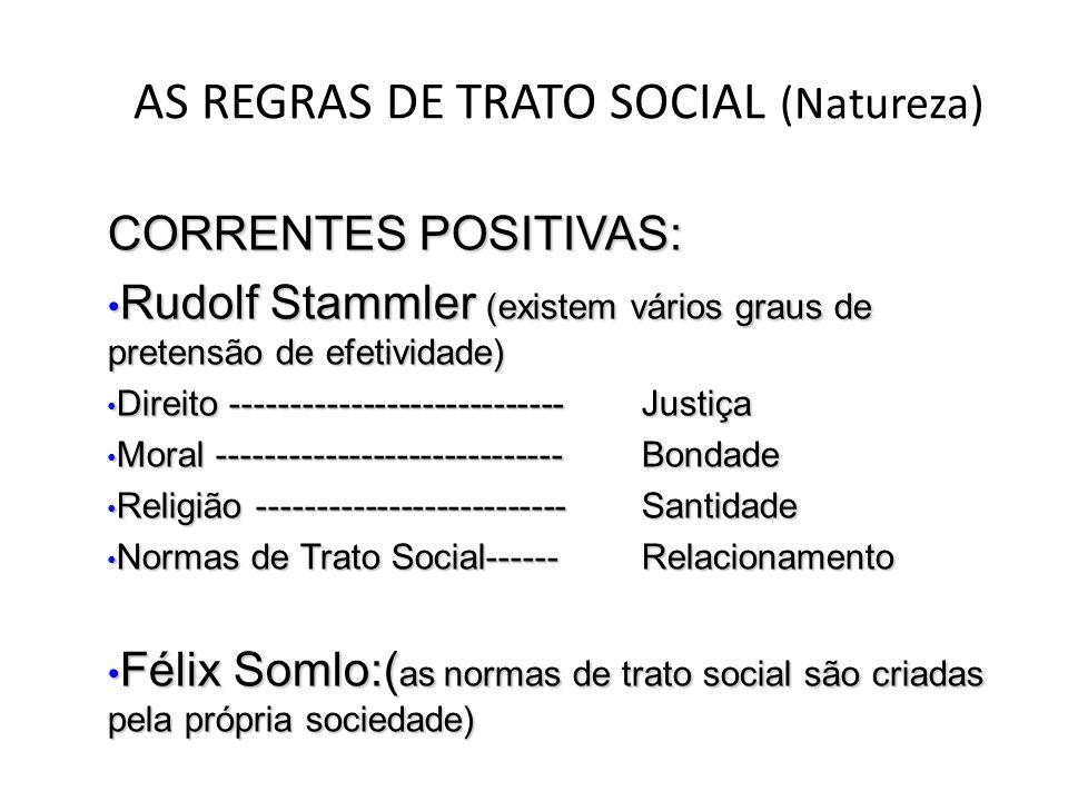 AS REGRAS DE TRATO SOCIAL (Natureza) CORRENTES POSITIVAS: • Rudolf Stammler (existem vários graus de pretensão de efetividade) • Direito -------------
