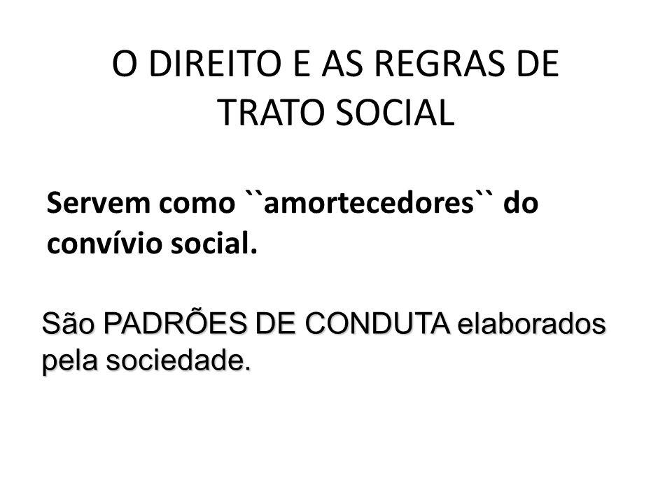O DIREITO E AS REGRAS DE TRATO SOCIAL Servem como ``amortecedores`` do convívio social. São PADRÕES DE CONDUTA elaborados pela sociedade.