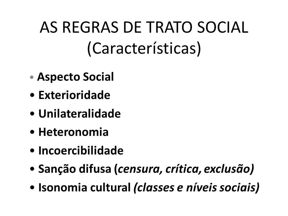 AS REGRAS DE TRATO SOCIAL (Características) • Aspecto Social • Exterioridade • Unilateralidade • Heteronomia • Incoercibilidade • Sanção difusa (censu