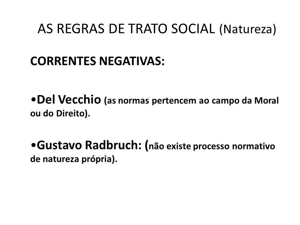 AS REGRAS DE TRATO SOCIAL (Natureza) CORRENTES NEGATIVAS: •Del Vecchio (as normas pertencem ao campo da Moral ou do Direito). •Gustavo Radbruch: ( não