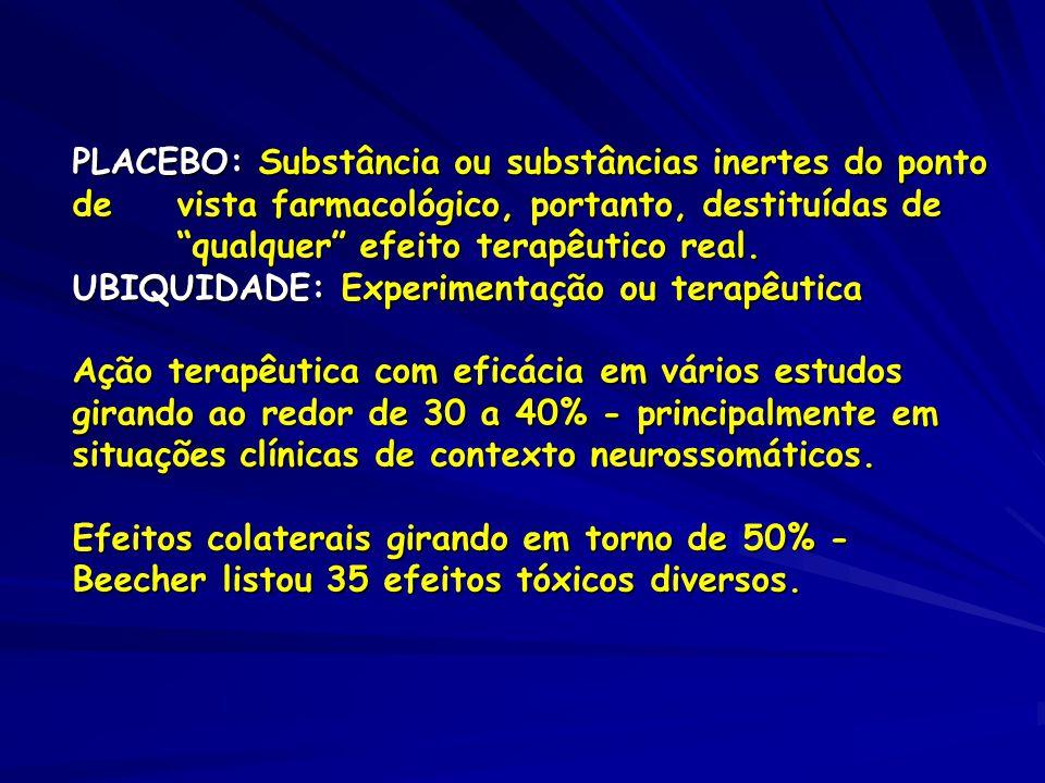PLACEBO: Substância ou substâncias inertes do ponto de vista farmacológico, portanto, destituídas de qualquer efeito terapêutico real.
