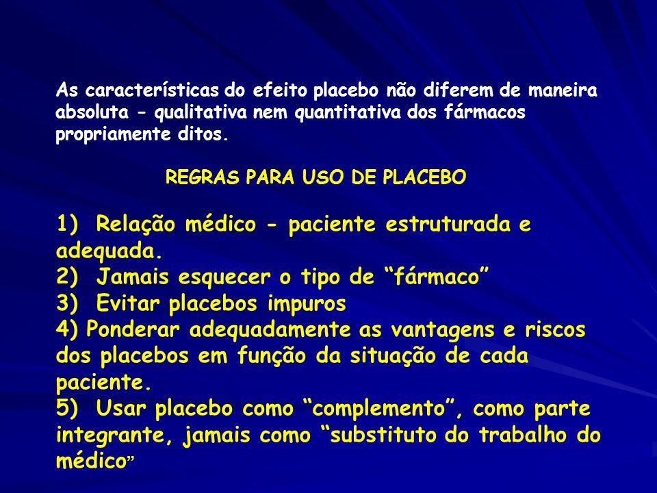 As características do efeito placebo não diferem de maneira absoluta - qualitativa nem quantitativa dos fármacos propriamente ditos.