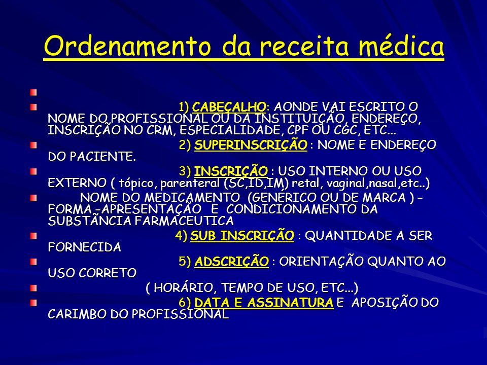 Ordenamento da receita médica 1) CABEÇALHO: AONDE VAI ESCRITO O NOME DO PROFISSIONAL OU DA INSTITUIÇÃO, ENDEREÇO, INSCRIÇÃO NO CRM, ESPECIALIDADE, CPF OU CGC, ETC...