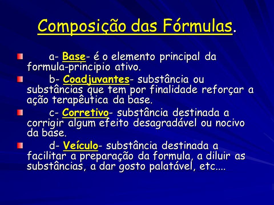 Composição das Fórmulas.a- Base- é o elemento principal da formula-principio ativo.