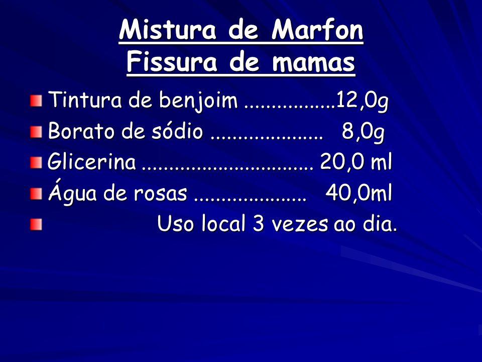 Mistura de Marfon Fissura de mamas Tintura de benjoim.................12,0g Borato de sódio..................... 8,0g Glicerina.......................