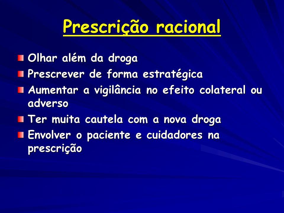 Prescrição racional Olhar além da droga Prescrever de forma estratégica Aumentar a vigilância no efeito colateral ou adverso Ter muita cautela com a nova droga Envolver o paciente e cuidadores na prescrição