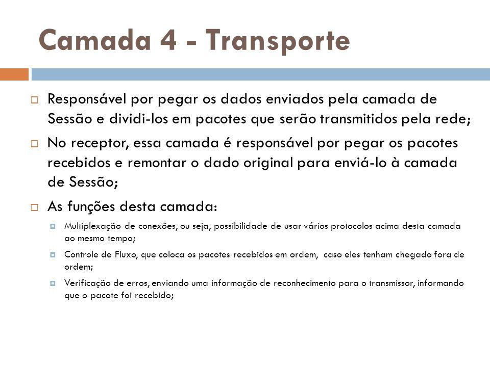 Camada 4 - Transporte  Responsável por pegar os dados enviados pela camada de Sessão e dividi-los em pacotes que serão transmitidos pela rede;  No r