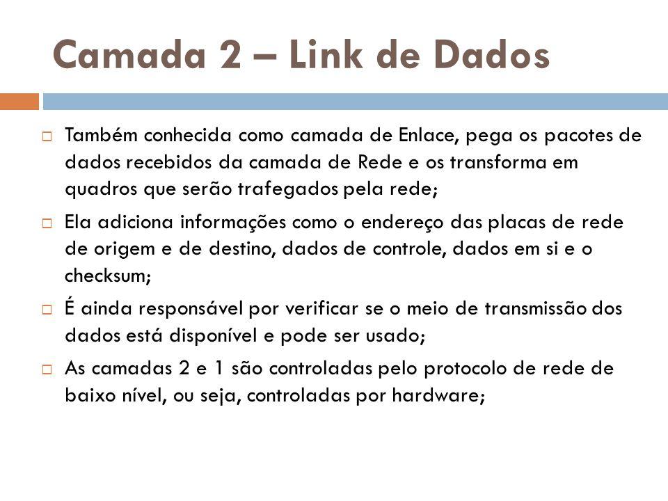 Camada 2 – Link de Dados  Também conhecida como camada de Enlace, pega os pacotes de dados recebidos da camada de Rede e os transforma em quadros que