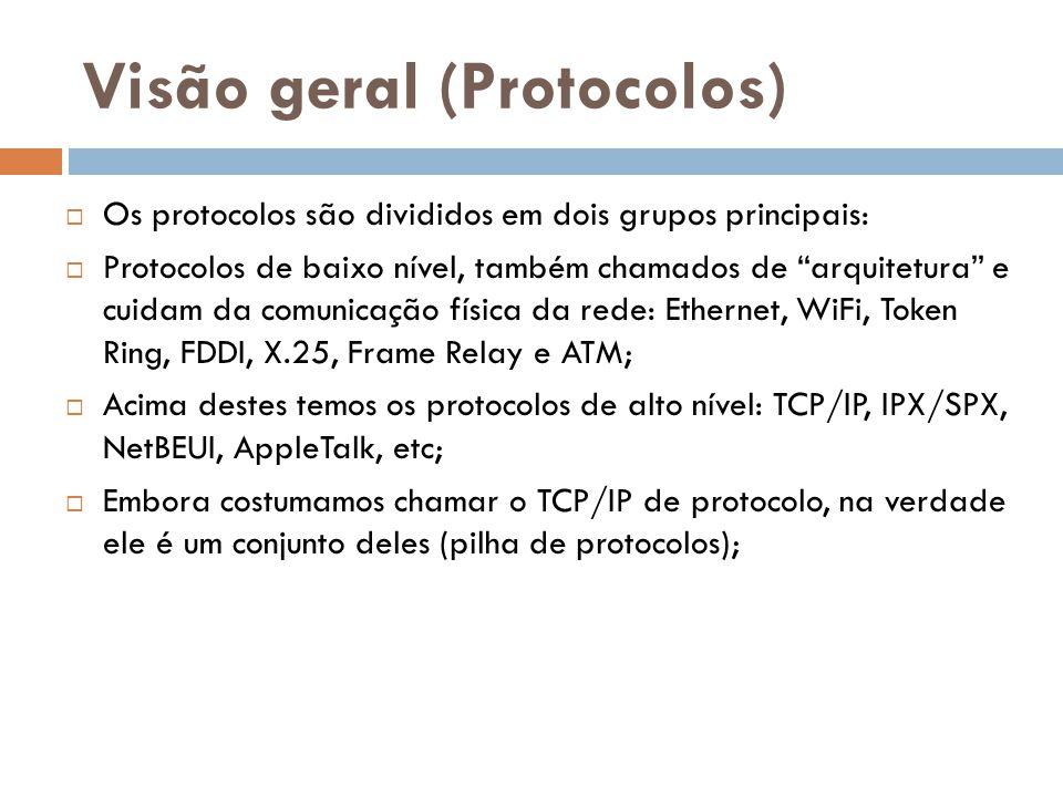 """Visão geral (Protocolos)  Os protocolos são divididos em dois grupos principais:  Protocolos de baixo nível, também chamados de """"arquitetura"""" e cuid"""