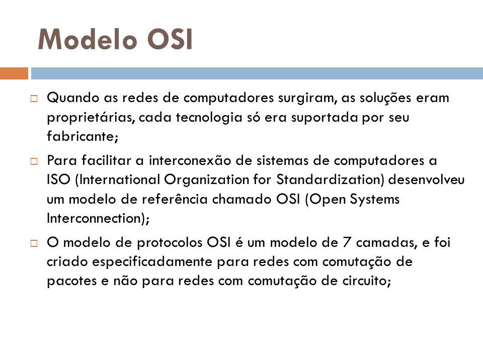 Modelo OSI  Em teoria, cada camada seria de responsabilidade de um protocolo específico (por isso o termo conjunto ou pilha de protocolos);  Na prática, a maioria das pilhas de protocolos (TCP/IP, IPX/SPX, NetBEUI) não segue esse modelo de referência ao pé da letra;  Acabam usando protocolos que correspondem a mais de uma camada do modelo OSI;