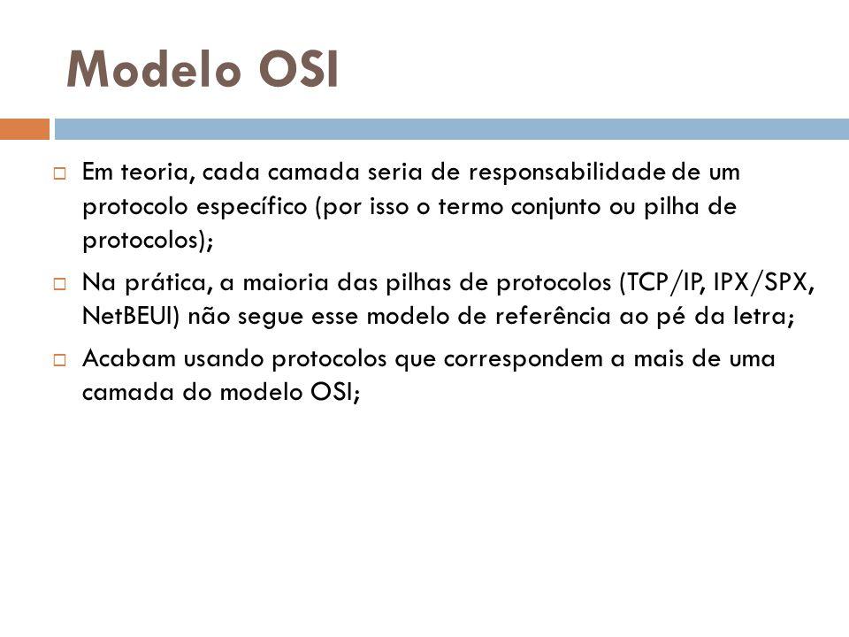 Modelo OSI  Na transmissão de um dado, cada camada pega as informações da camada superior, acrescenta informações nas quais seja responsável e passa para a camada inferior, este processo é chamado de encapsulamento;