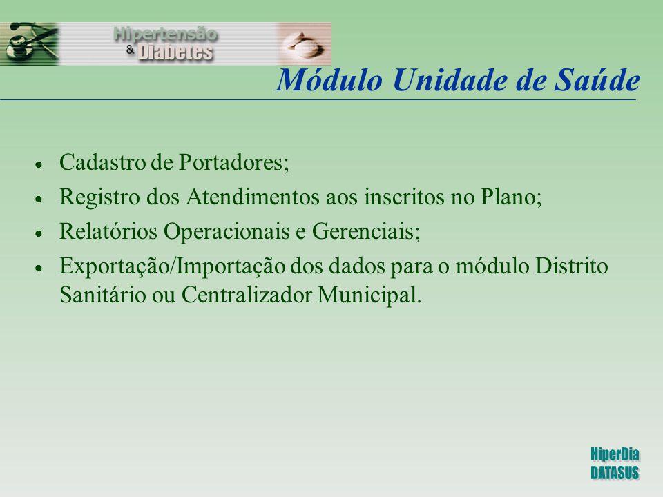Módulo Unidade de Saúde  Cadastro de Portadores;  Registro dos Atendimentos aos inscritos no Plano;  Relatórios Operacionais e Gerenciais;  Export
