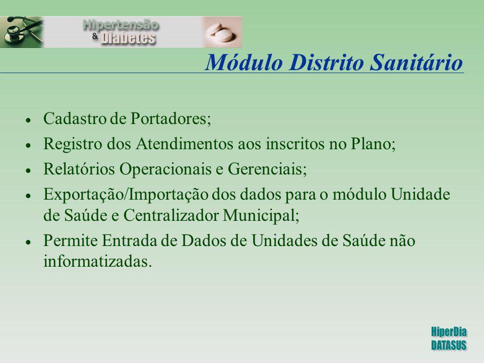 Módulo Distrito Sanitário  Cadastro de Portadores;  Registro dos Atendimentos aos inscritos no Plano;  Relatórios Operacionais e Gerenciais;  Expo