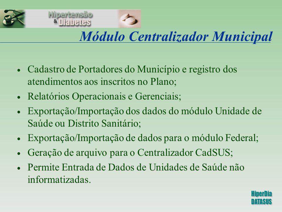 Módulo Centralizador Municipal  Cadastro de Portadores do Município e registro dos atendimentos aos inscritos no Plano;  Relatórios Operacionais e G