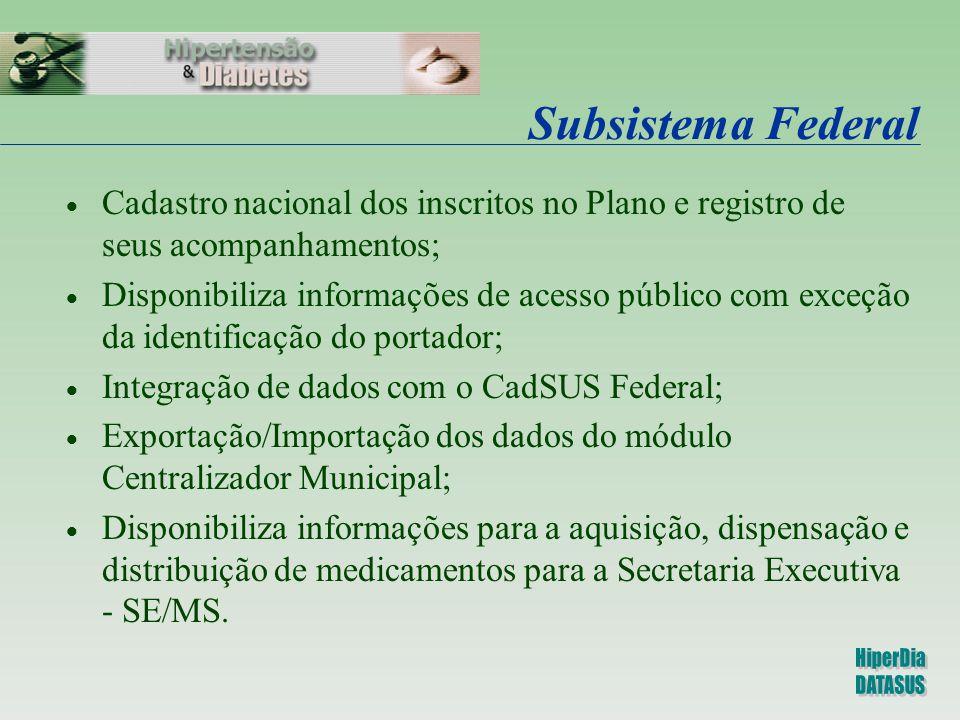 Subsistema Federal  Cadastro nacional dos inscritos no Plano e registro de seus acompanhamentos;  Disponibiliza informações de acesso público com ex