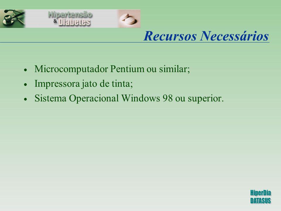 Recursos Necessários  Microcomputador Pentium ou similar;  Impressora jato de tinta;  Sistema Operacional Windows 98 ou superior.