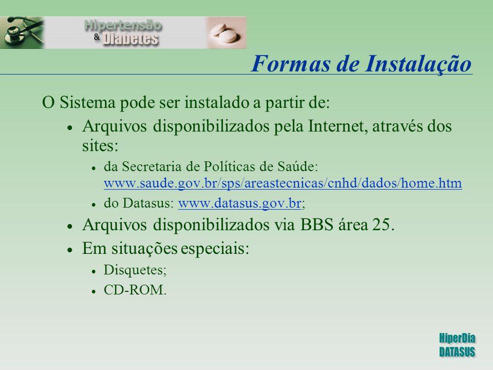 Formas de Instalação O Sistema pode ser instalado a partir de:  Arquivos disponibilizados pela Internet, através dos sites:  da Secretaria de Políti